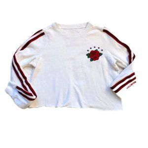 Hollister Cropped Sweatshirt Embroidered Rose